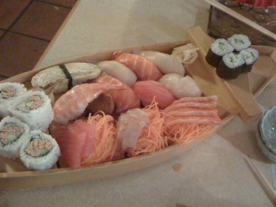 Large sushi and sashimi combination