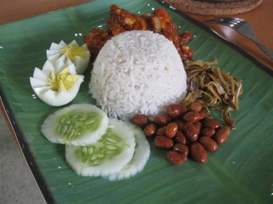 My nasi lemak with prawn sambal - I even cut fancy eggs!