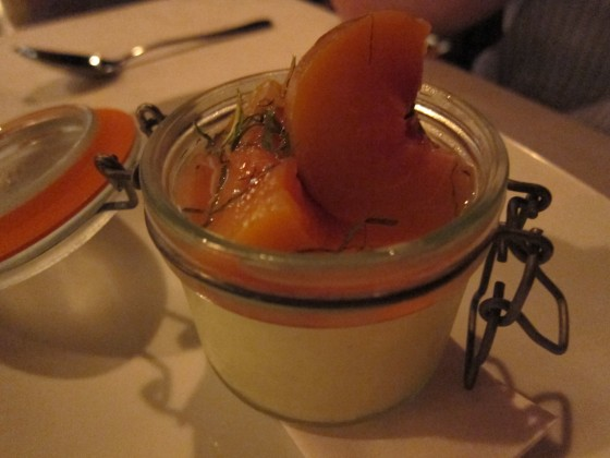 Buttermilk pannacotta with spiced peaches