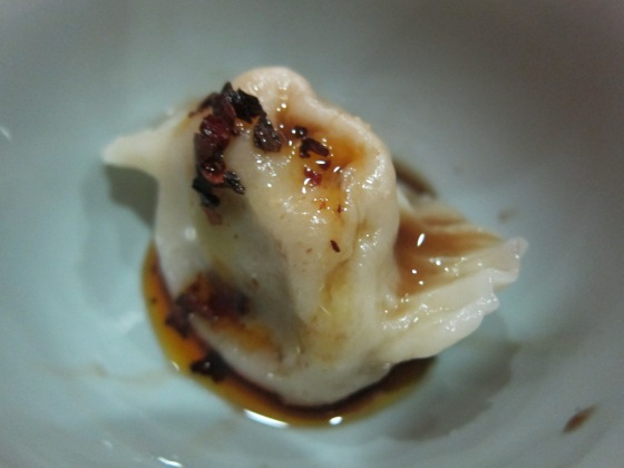 boiled dumpling with chilli oil and black vinegar at Zheng Hao restaurant, Enmore