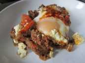 Moroccan lamb mince, egg and feta 'breakfast' tagine