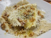 mushroom and chevre ravioli with walnut butter sauce
