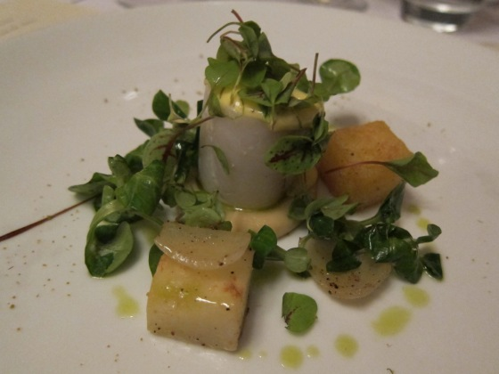 Poached fillet of John Dory with celeriac, potato and wilted mâché and sauce Bernaise