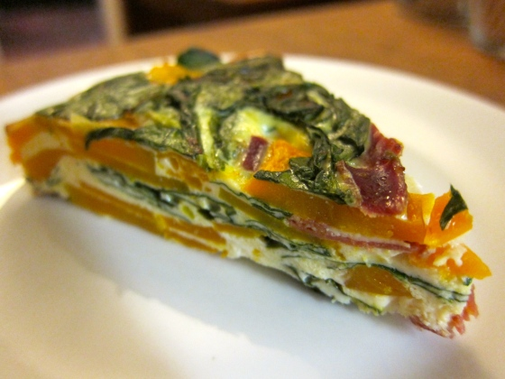 Frittata of baby spinach, pumpkin, feta and jamon