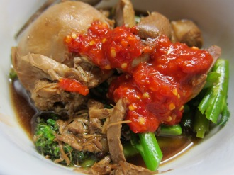 Chicken adobo with greens and chilli